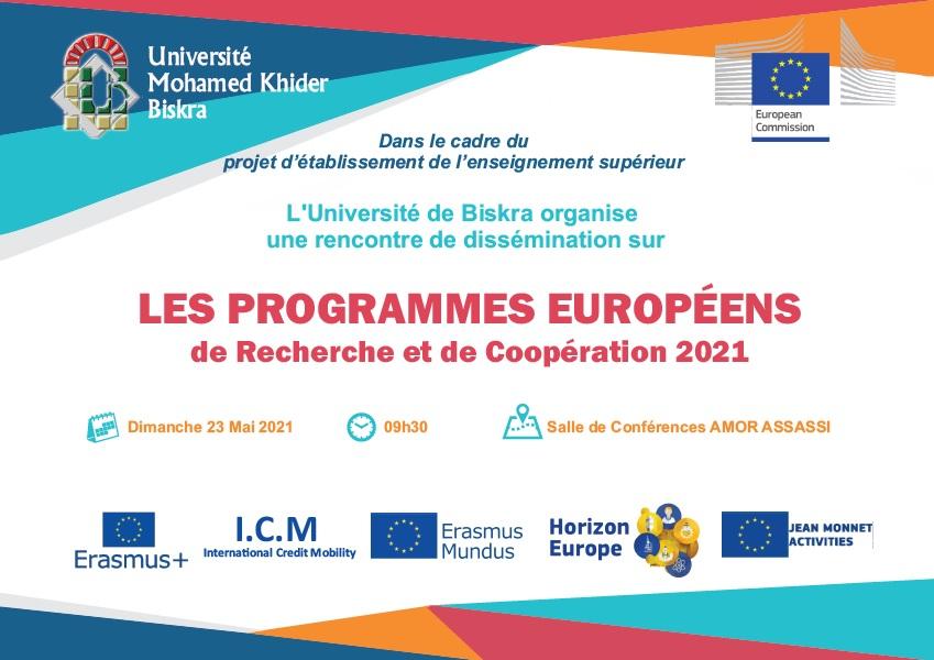 LES PROGRAMMES EUROPÉENS de Recherche et de Coopération 2021